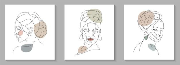 아름다움 여자 얼굴 최소한의 손으로 그린 라인 아트의 컬렉션
