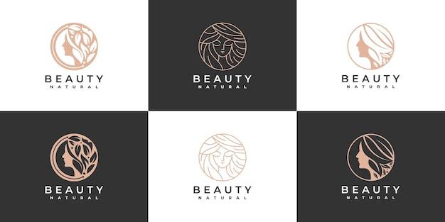 美容女性の髪のロゴのコレクション