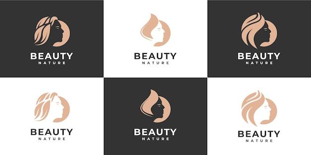 아름다움 여성 머리 로고의 컬렉션