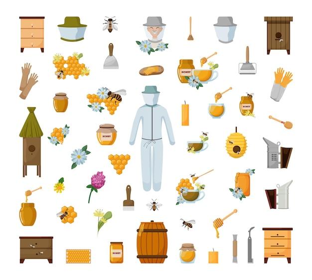 양봉 개체의 컬렉션입니다. 꿀벌 농장에 대 한 벡터 일러스트 레이 션.