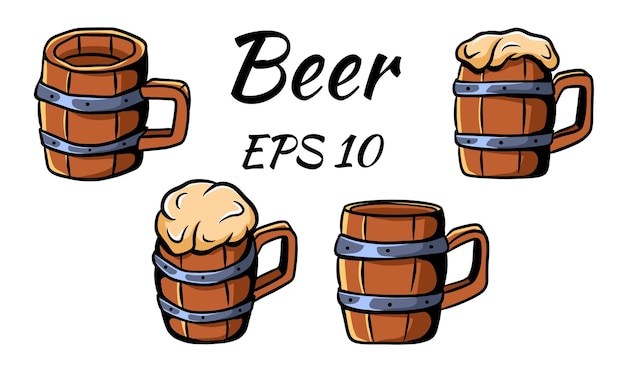 Коллекция пивных кружек для пива. векторная иллюстрация. отдельный на белом фоне.