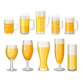 Коллекция пивных кружек с легким алкогольным напитком