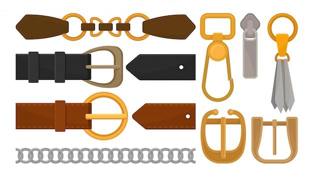 Коллекция элементов пояса. стильные кожаные мужские и женские пояса, металлические и золотые аксессуары, застежка-молния, серебряная цепочка, кожаная кисточка и карабин. изолированный плоский дизайн.