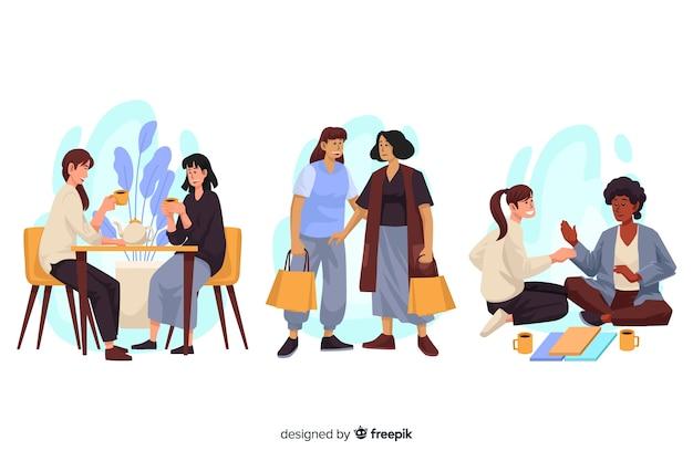Коллекция лучших друзей, проводящих время вместе