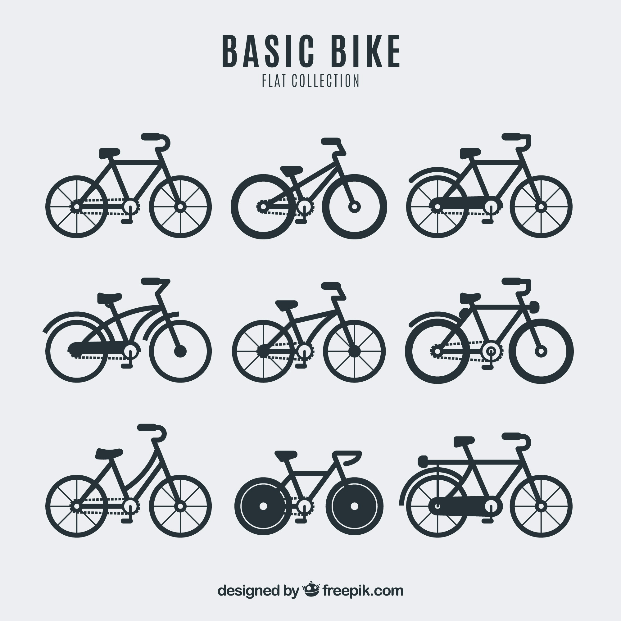 Collection of bicycle in flat design