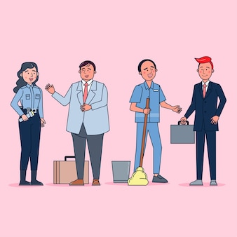 큰 집합의 컬렉션은 전문 유니폼, 평면 그림을 입고 다양한 직업이나 직업 사람들을 격리합니다.