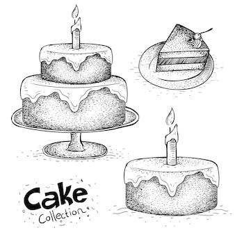 손으로 그린 생일 케이크의 컬렉션