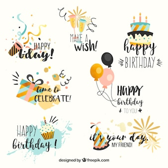 Collection Of Birthday Stickers In Vintage Style