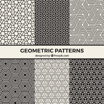 Collection of black and white geometric patterns