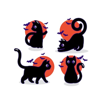 ハロウィーンの季節の満月の黒猫の漫画のキャラクターのコレクション
