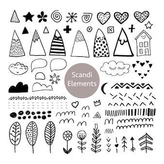 Коллекция черных элементов в скандинавском стиле в векторе. скандинавский набор для дизайна плаката, упаковки, открытки и прочего.