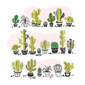 Коллекция черных рисованной кактус, стоящий в ряду эскиз коллекции, изолированные на белом фоне. плоский набор иконок кактус. иллюстрация элементов природы.