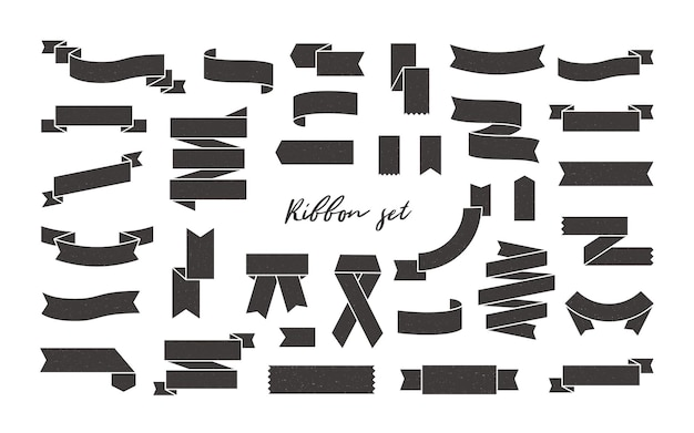 블랙 리본 배너, 물결 모양 및 접힌 테이프, 책갈피 및 플래그 흰색 절연 컬렉션