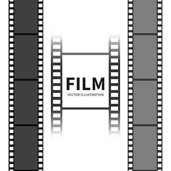 다른 모양으로 빈 영화 필름 컬렉션입니다.