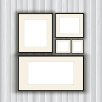 Коллекция пустой рамки для фотографий на фоне деревянные стены