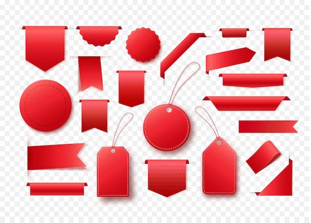 空白の赤いリボンバナーのコレクションです。プロモーションデザインのタグとラベル。
