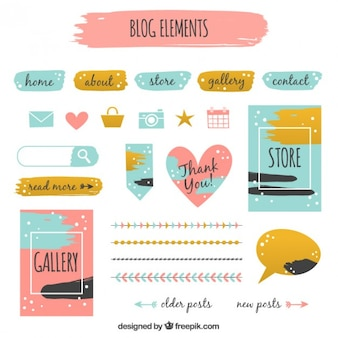 Collection of blog elements in vintage style