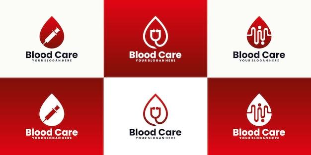Коллекция вдохновения для дизайна логотипа донорства крови Premium векторы