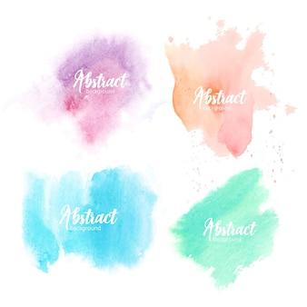 白い背景で隔離の水彩画で手描きのしみのコレクション。さまざまなパステルカラーの芸術的なペイントスミアのバンドル。アクアレルの背景のセット。カラフルなベクトルイラスト。