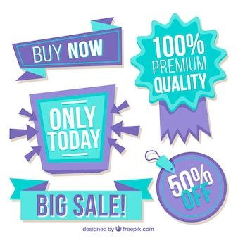 Collection of blue and purple discount stickers