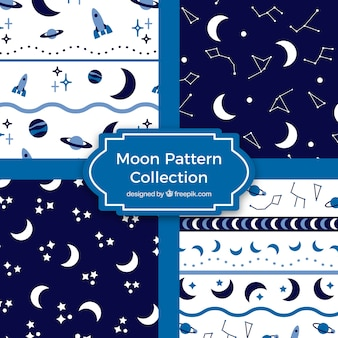 Collection of blue and white moon patterns