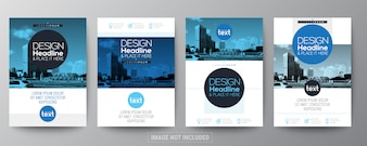 Collection of blue poster flyer brochure layout template