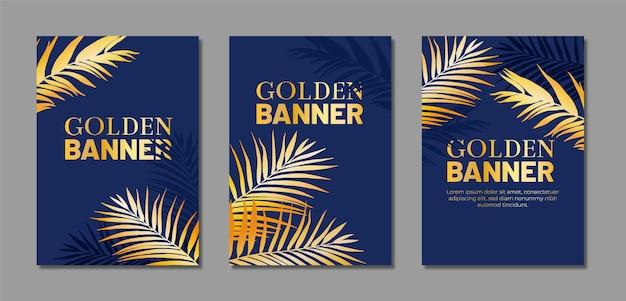 金色の手のひらで青いポスターのコレクション