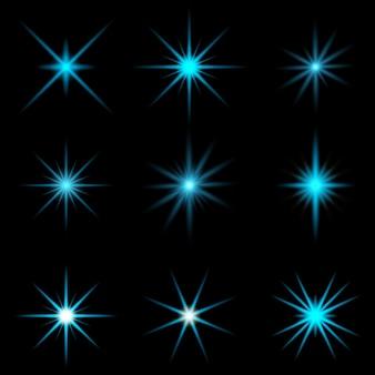 青いスターバーストデザインのコレクション 無料ベクター