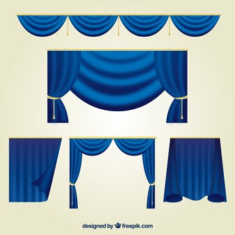 Collection of blue theater curtains