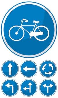 白で隔離の青い交通標識のコレクション