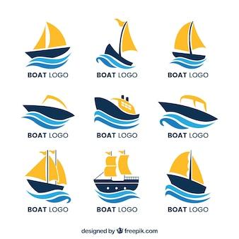 Коллекция лодочных логотипов с волнами