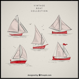 Collection of boats in vintage style
