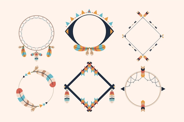 평면 디자인의 boho 프레임 컬렉션