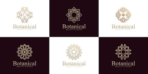 植物の装飾品のコレクション、豪華なラインアートスタイルのロゴ
