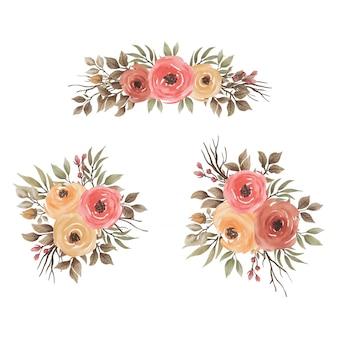 Коллекция букетов из роз и листьев в стиле акварели