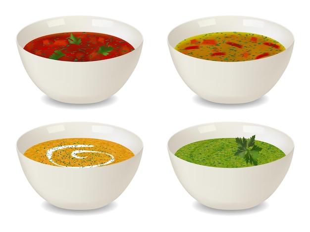 スープとクリームスープのボウルのコレクション。緑と装飾が施されています。白い背景の上の孤立したオブジェクト。リアルなスタイル。ベクトルイラスト。