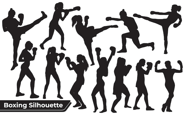 ボクシングの女性のシルエットのコレクション
