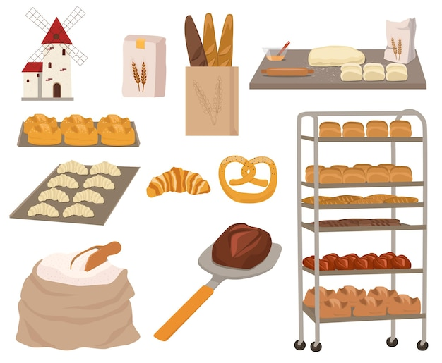 Сбор хлеба и выпечки. мука, скалка, тесто, бублик, багет, круассан, крендель.