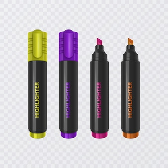 Коллекция ярких и цветных хайлайтеров, реалистичных маркеров