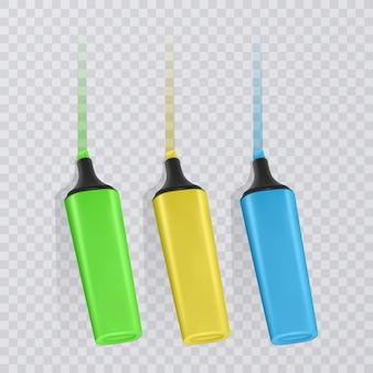 マーキング付きの明るく色付きの蛍光ペンのコレクション、透明な上のリアルなマーカー