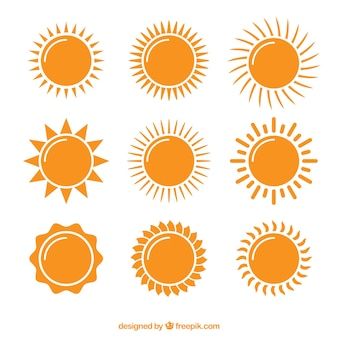 Коллекция ярких солнц из