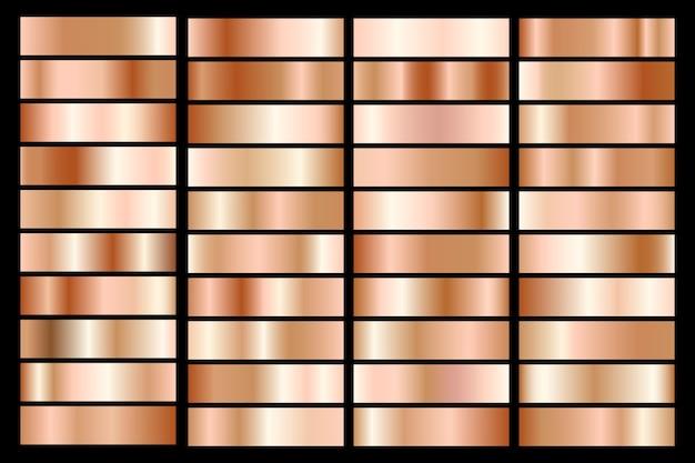 ブロンズメタリックグラデーションのコレクション。ブロンズ効果のあるブリリアントプレート。