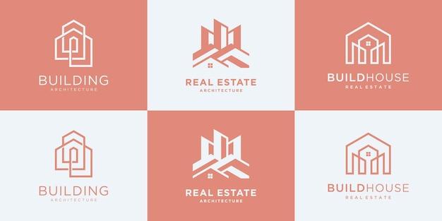 건물 건축 컬렉션은 로고 디자인 영감을 설정합니다.