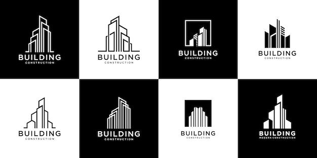 Коллекция наборов строительной архитектуры, символы дизайна логотипа недвижимости