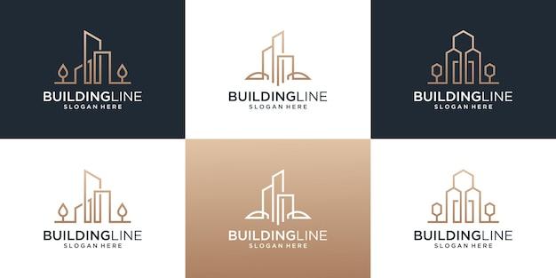 라인 아트 스타일 로고 디자인 템플릿을 사용하여 부동산 로고를 구축하는 컬렉션입니다.