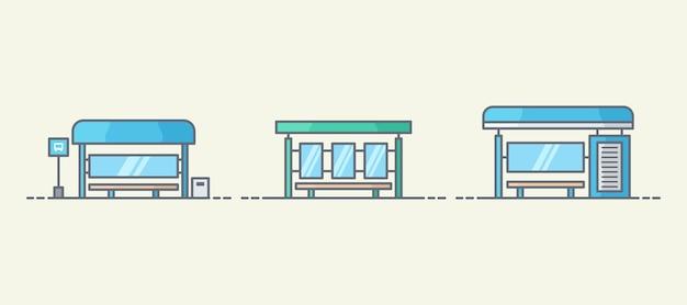 Коллекция иллюстрации автобусной остановки