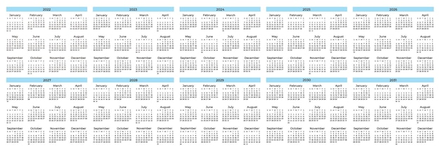 カレンダーテンプレートのコレクション