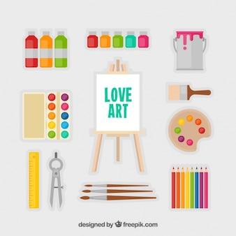 평면 디자인의 예술적 요소와 캔버스의 컬렉션