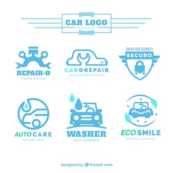 Collection of car logos in blue tones