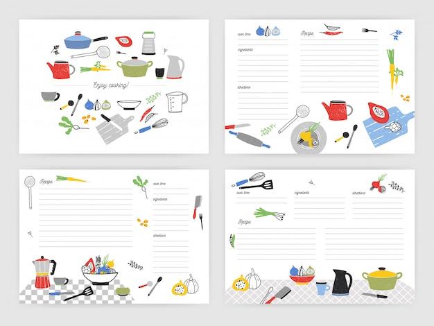 음식 준비에 관한 메모를 만들기위한 카드 템플릿 모음. 화려한 주방 용품 및 요리 재료로 장식 된 빈 레시피 북 또는 요리 책 페이지. 삽화.